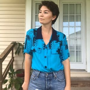 Vintage button down top with shoulder pads